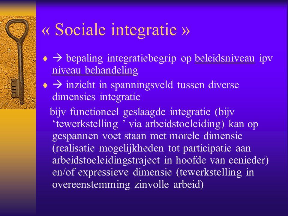 « Sociale integratie »   bepaling integratiebegrip op beleidsniveau ipv niveau behandeling   inzicht in spanningsveld tussen diverse dimensies int