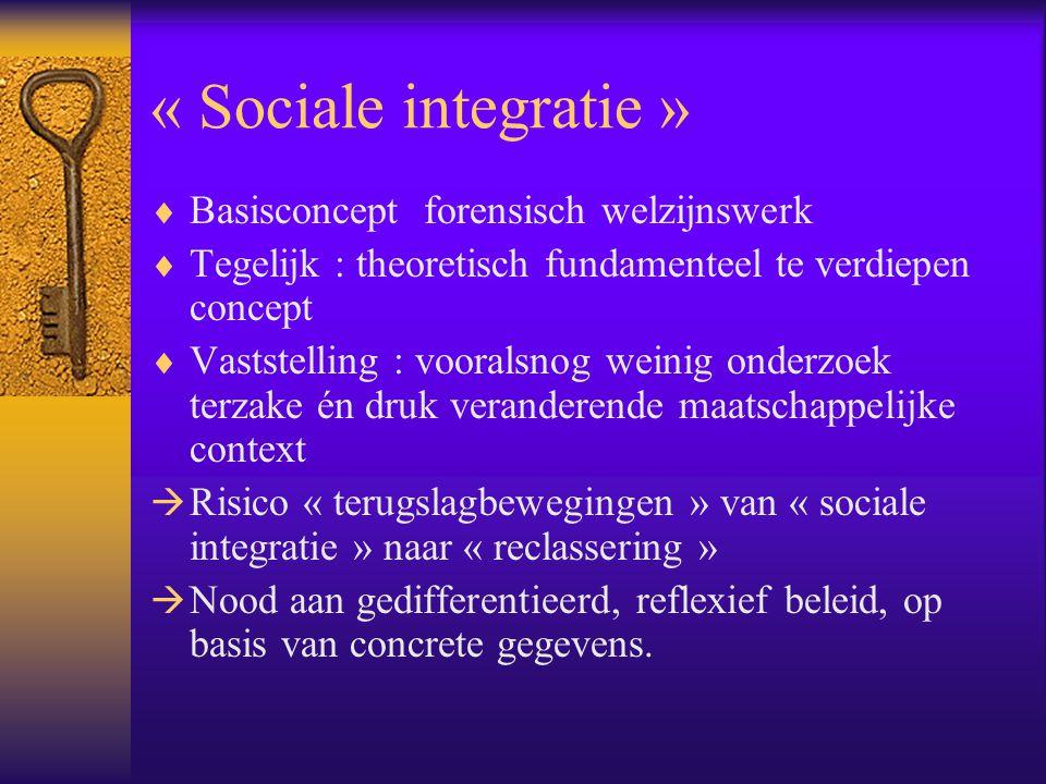 « Sociale integratie »  Basisconcept forensisch welzijnswerk  Tegelijk : theoretisch fundamenteel te verdiepen concept  Vaststelling : vooralsnog w