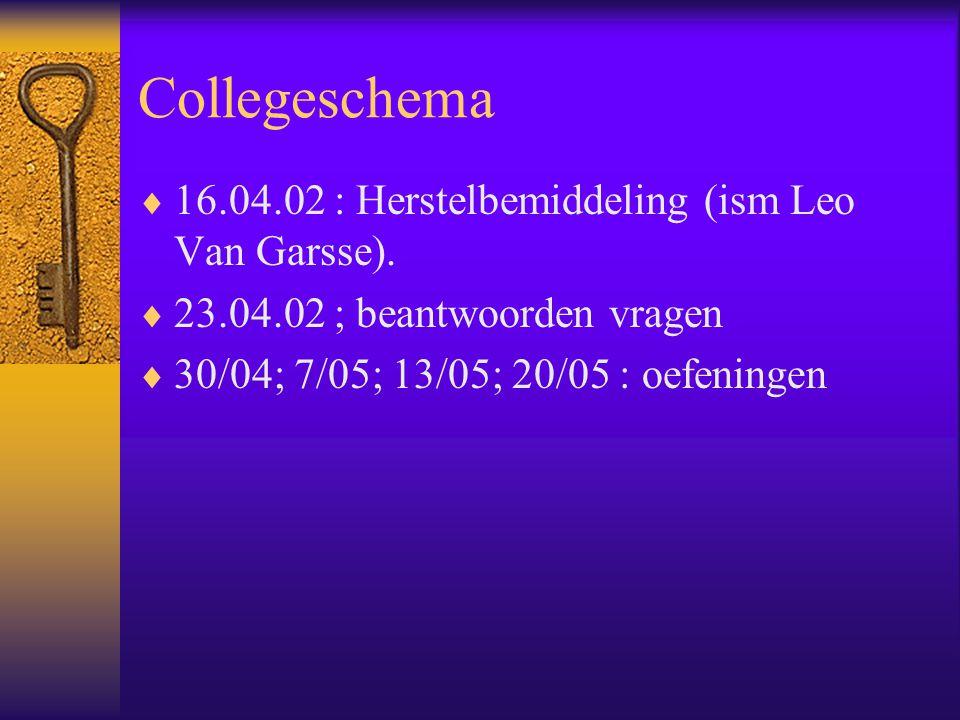 Collegeschema  16.04.02 : Herstelbemiddeling (ism Leo Van Garsse).  23.04.02 ; beantwoorden vragen  30/04; 7/05; 13/05; 20/05 : oefeningen