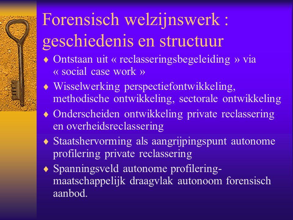 Forensisch welzijnswerk : geschiedenis en structuur  Ontstaan uit « reclasseringsbegeleiding » via « social case work »  Wisselwerking perspectiefon