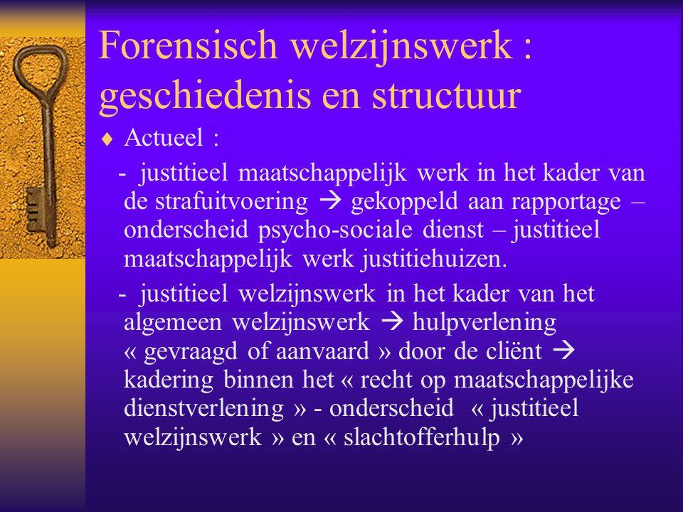 Forensisch welzijnswerk : geschiedenis en structuur  Actueel : - justitieel maatschappelijk werk in het kader van de strafuitvoering  gekoppeld aan