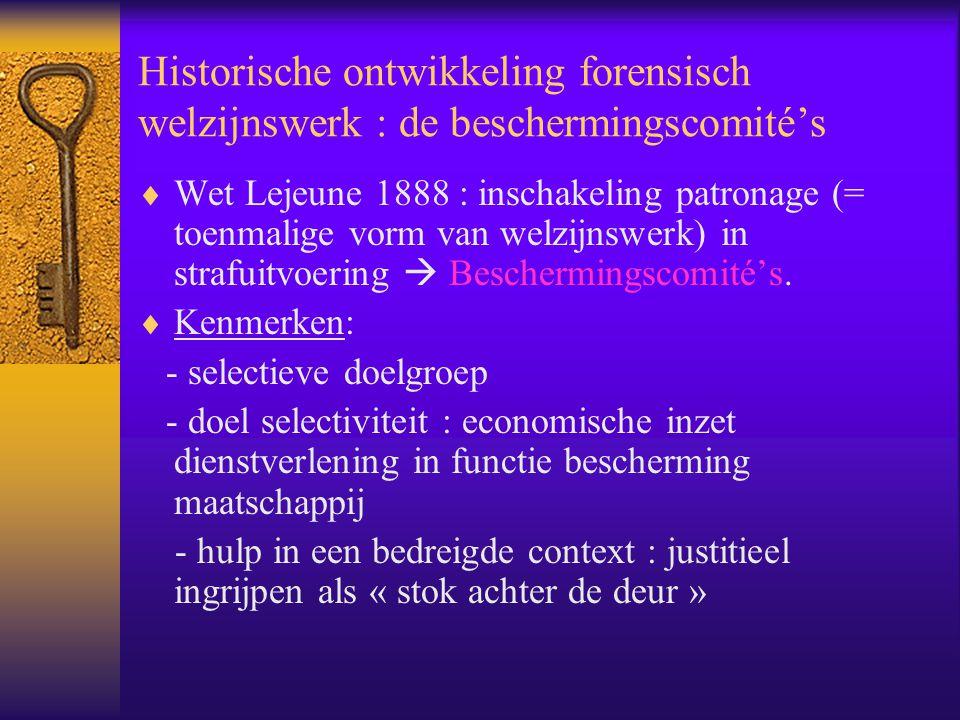 Historische ontwikkeling forensisch welzijnswerk : de beschermingscomité's  Wet Lejeune 1888 : inschakeling patronage (= toenmalige vorm van welzijns