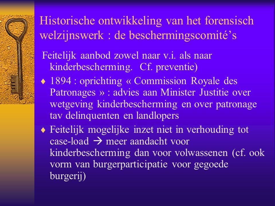 Historische ontwikkeling van het forensisch welzijnswerk : de beschermingscomité's Feitelijk aanbod zowel naar v.i. als naar kinderbescherming. Cf. pr