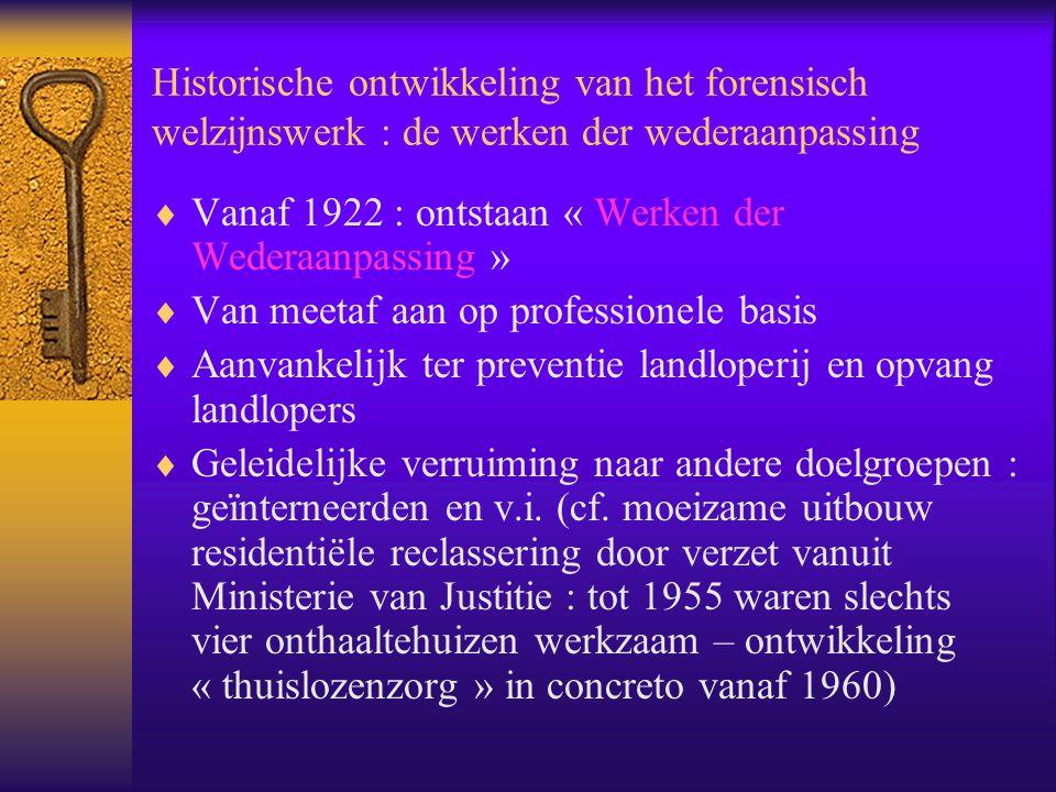 Historische ontwikkeling van het forensisch welzijnswerk : de werken der wederaanpassing  Vanaf 1922 : ontstaan « Werken der Wederaanpassing »  Van