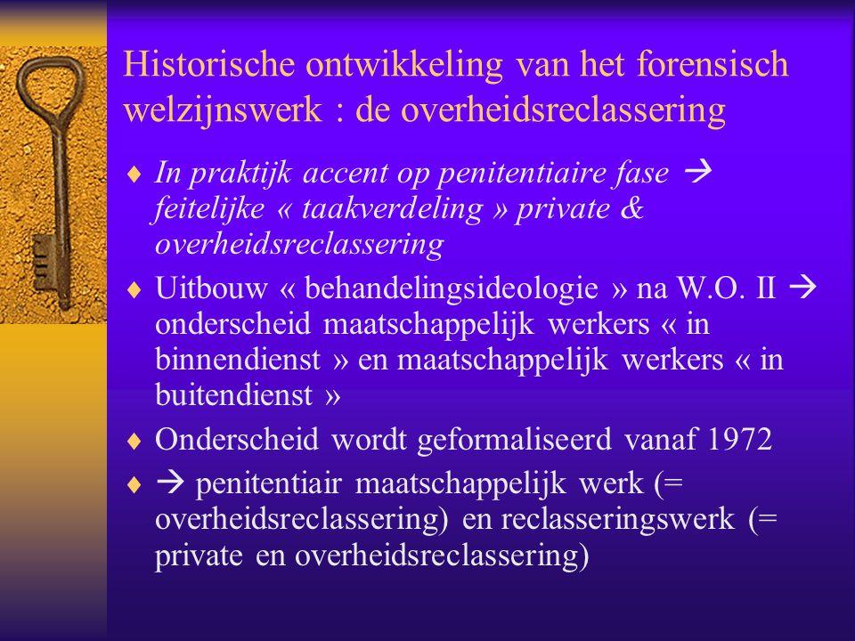 Historische ontwikkeling van het forensisch welzijnswerk : de overheidsreclassering  In praktijk accent op penitentiaire fase  feitelijke « taakverd