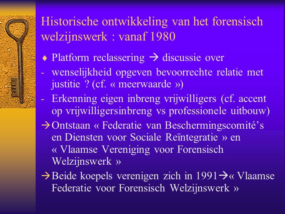 Historische ontwikkeling van het forensisch welzijnswerk : vanaf 1980  Platform reclassering  discussie over - wenselijkheid opgeven bevoorrechte re