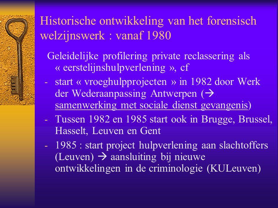 Historische ontwikkeling van het forensisch welzijnswerk : vanaf 1980 Geleidelijke profilering private reclassering als « eerstelijnshulpverlening »,