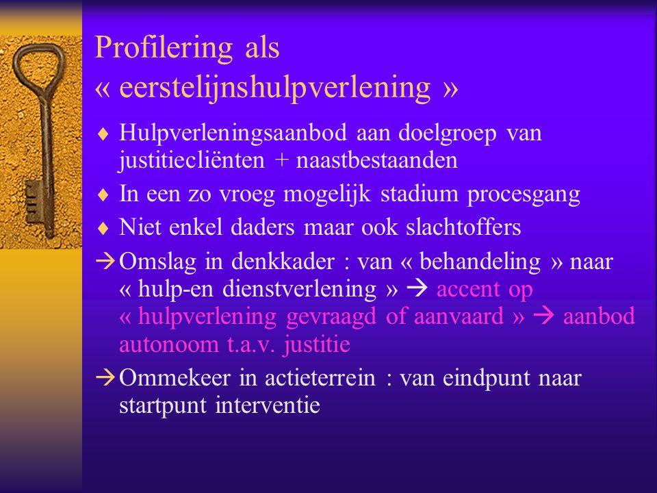 Profilering als « eerstelijnshulpverlening »  Hulpverleningsaanbod aan doelgroep van justitiecliënten + naastbestaanden  In een zo vroeg mogelijk st