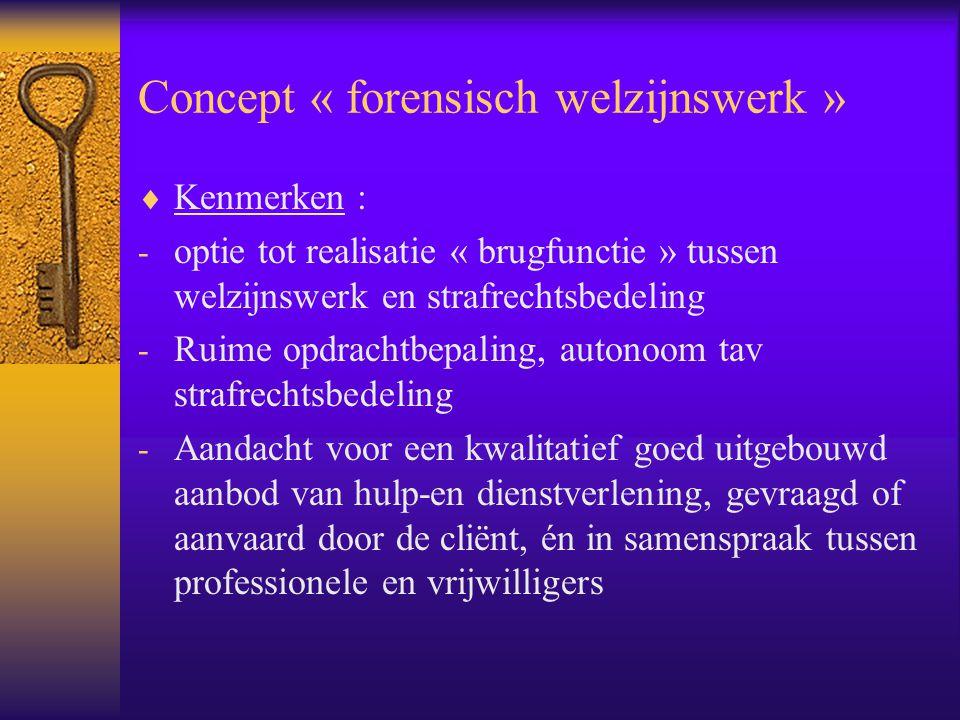 Concept « forensisch welzijnswerk »  Kenmerken : - optie tot realisatie « brugfunctie » tussen welzijnswerk en strafrechtsbedeling - Ruime opdrachtbe