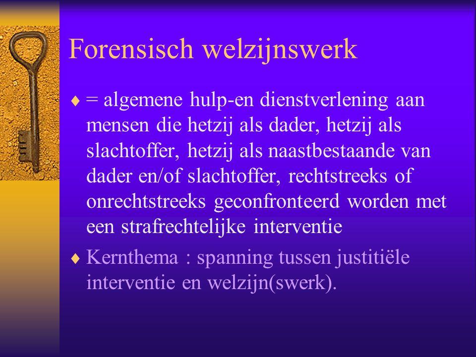 Integratie forensisch welzijnswerk in algemeen welzijnswerk  1985 : BVE betreffende « forensische welzijnszorg »  geheel private reclassering wordt opgenomen als « diensten jusititeel welzijnswerk »  Onderscheid « type A » en « type B » diensten  Geleidelijk aan : onderscheid « justitieel welzijnswerk » - « slachtofferhulp »  1991 : inschakeling als « justiteel ambulant welzijnswerk » en « slachtofferhulp » in decreet algemeen welzijnswerk