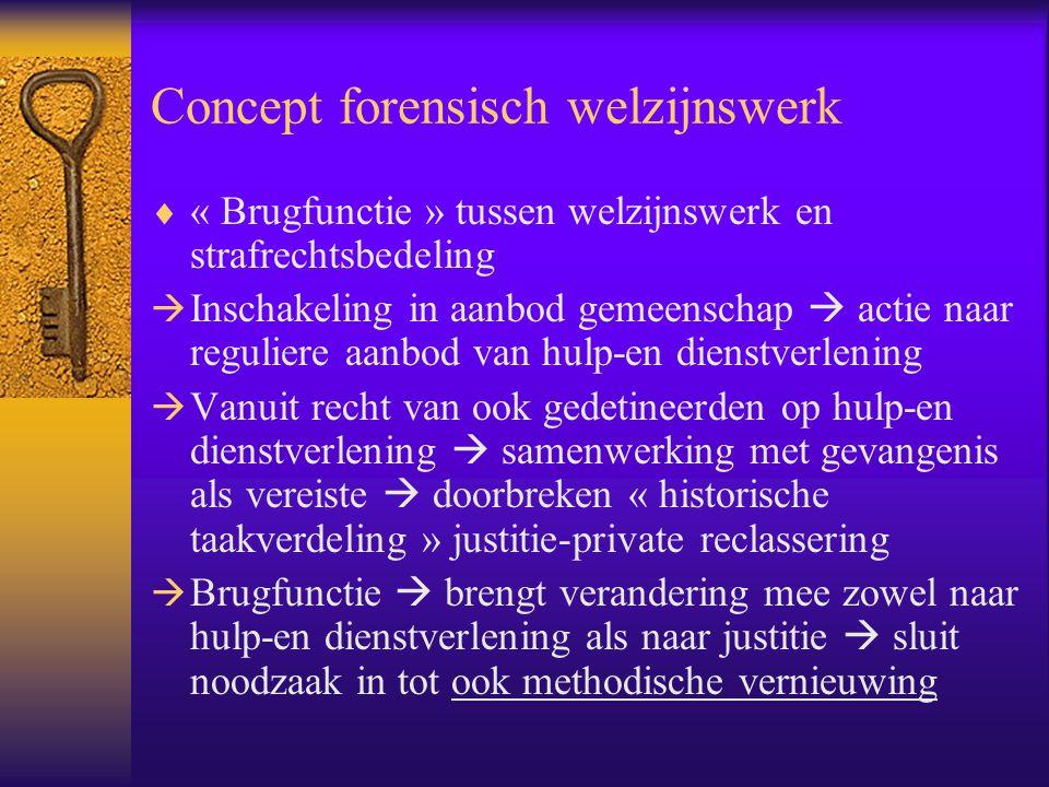 Concept forensisch welzijnswerk  « Brugfunctie » tussen welzijnswerk en strafrechtsbedeling  Inschakeling in aanbod gemeenschap  actie naar regulie