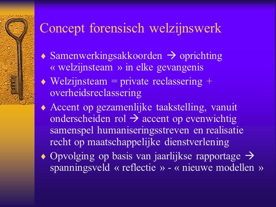 Concept forensisch welzijnswerk  Samenwerkingsakkoorden  oprichting « welzijnsteam » in elke gevangenis  Welzijnsteam = private reclassering + over