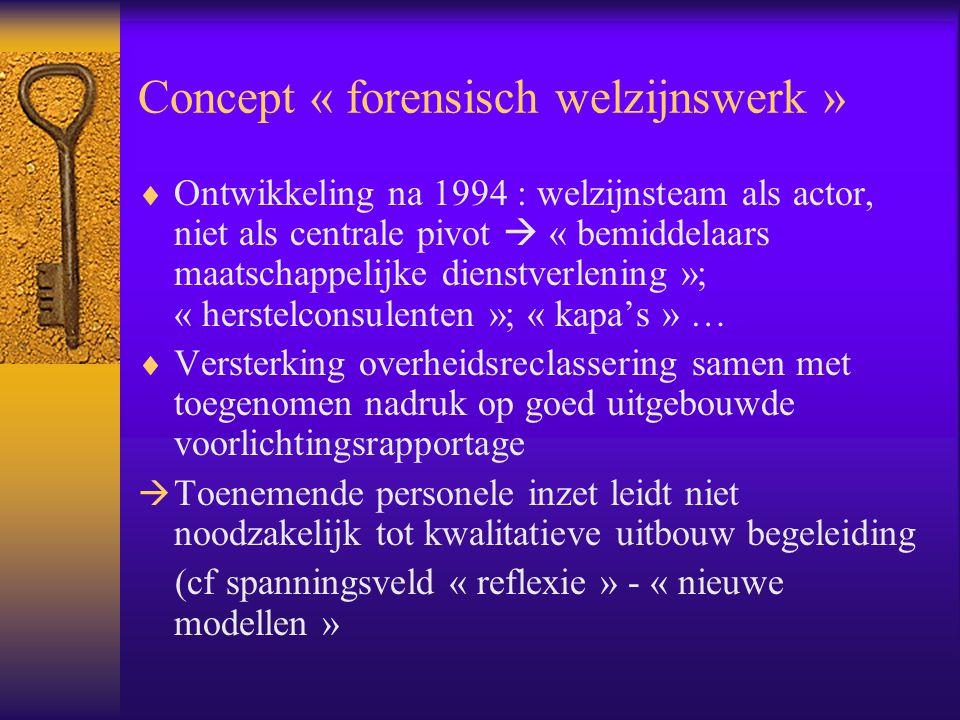 Concept « forensisch welzijnswerk »  Ontwikkeling na 1994 : welzijnsteam als actor, niet als centrale pivot  « bemiddelaars maatschappelijke dienstv