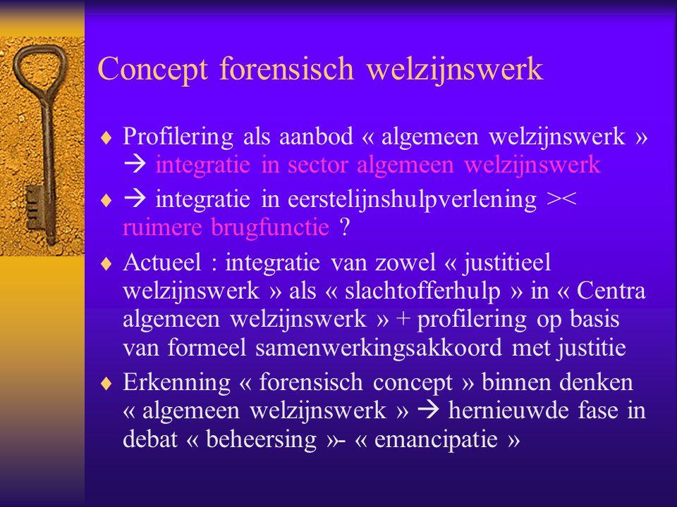 Concept forensisch welzijnswerk  Profilering als aanbod « algemeen welzijnswerk »  integratie in sector algemeen welzijnswerk   integratie in eers