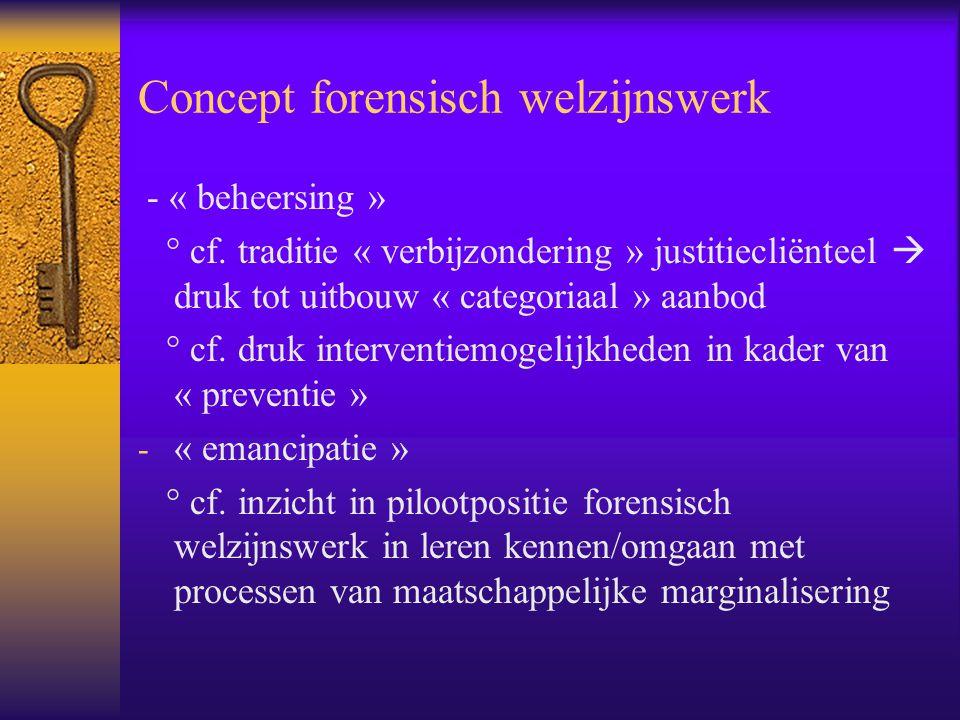Concept forensisch welzijnswerk - « beheersing » ° cf. traditie « verbijzondering » justitiecliënteel  druk tot uitbouw « categoriaal » aanbod ° cf.