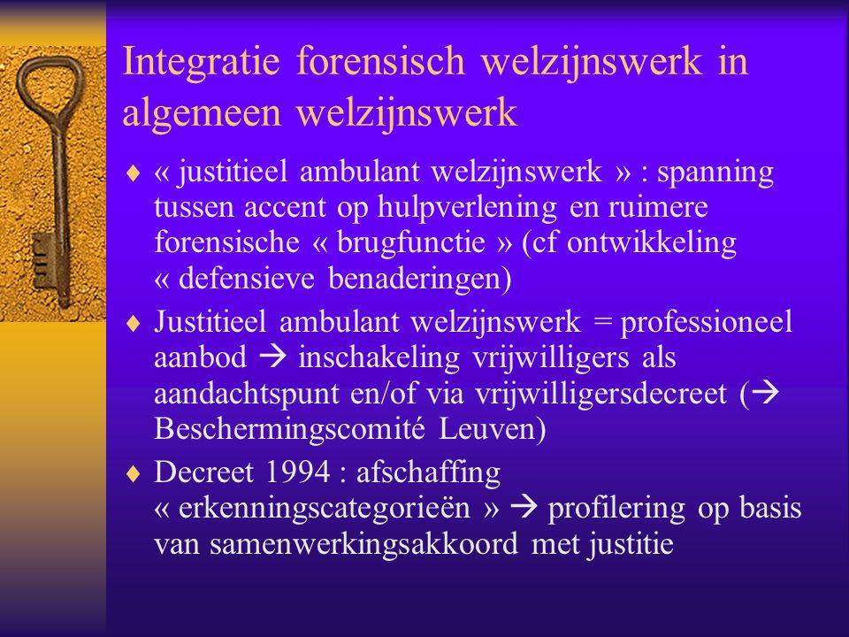 Integratie forensisch welzijnswerk in algemeen welzijnswerk  « justitieel ambulant welzijnswerk » : spanning tussen accent op hulpverlening en ruimer