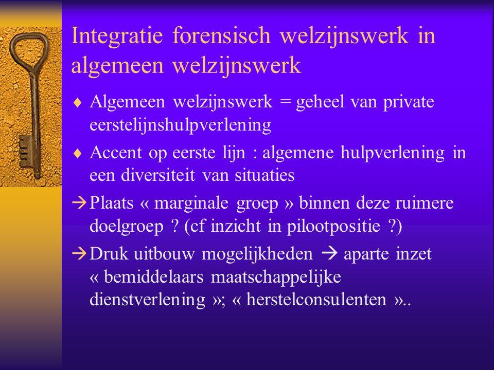 Integratie forensisch welzijnswerk in algemeen welzijnswerk  Algemeen welzijnswerk = geheel van private eerstelijnshulpverlening  Accent op eerste l