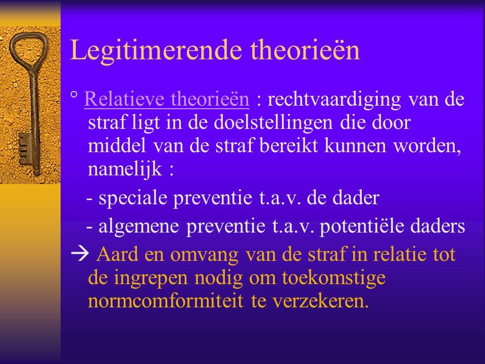 Legitimerende theorieën ° Relatieve theorieën : rechtvaardiging van de straf ligt in de doelstellingen die door middel van de straf bereikt kunnen wor