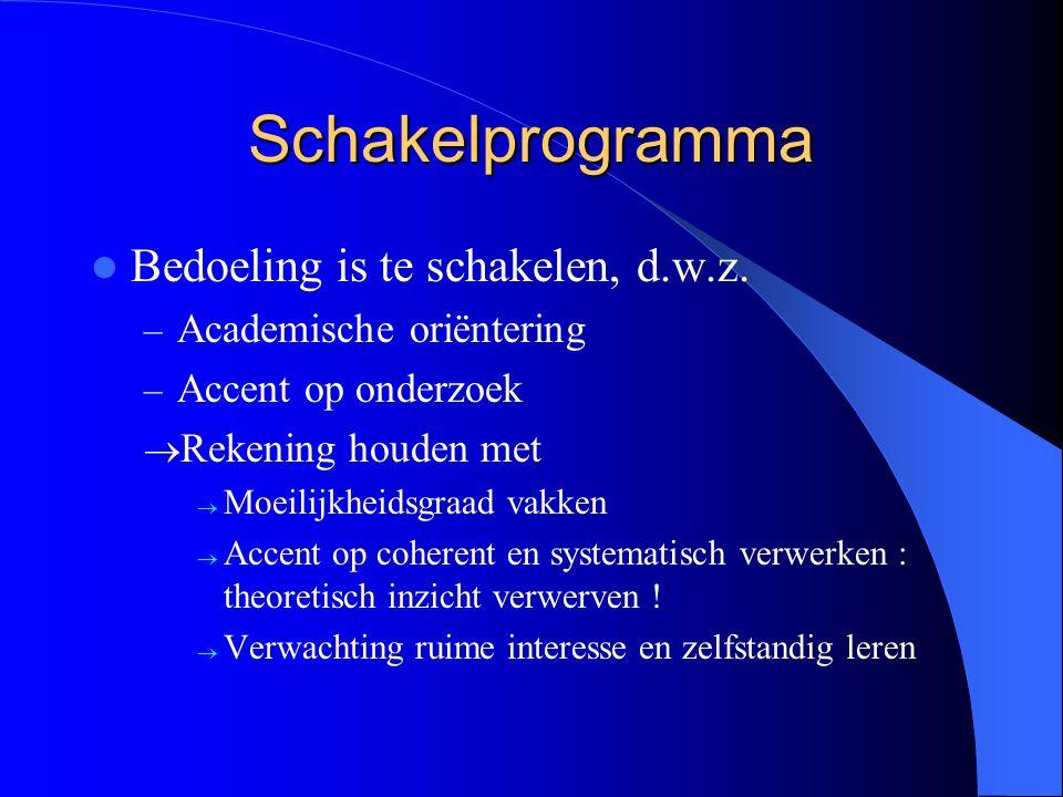 Schakelprogramma Bedoeling is te schakelen, d.w.z. – Academische oriëntering – Accent op onderzoek  Rekening houden met  Moeilijkheidsgraad vakken 