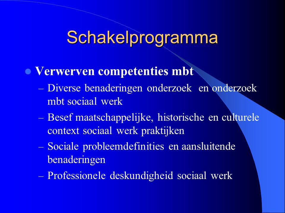 Schakelprogramma Verwerven competenties mbt – Diverse benaderingen onderzoek en onderzoek mbt sociaal werk – Besef maatschappelijke, historische en cu