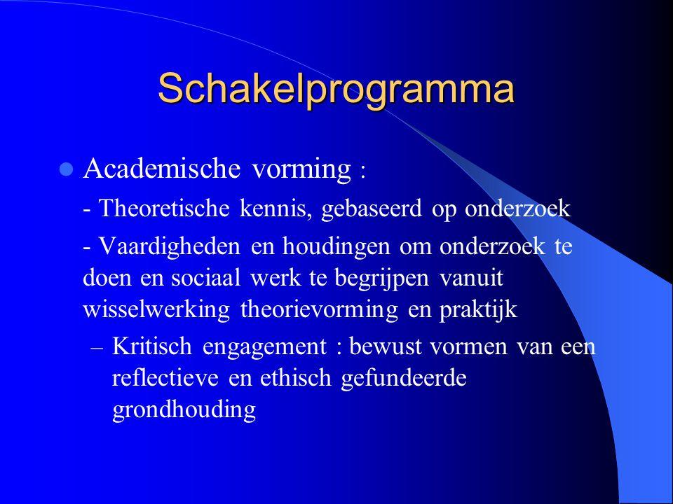 Schakelprogramma Academische vorming : - Theoretische kennis, gebaseerd op onderzoek - Vaardigheden en houdingen om onderzoek te doen en sociaal werk