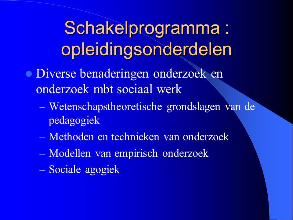 Schakelprogramma : opleidingsonderdelen Diverse benaderingen onderzoek en onderzoek mbt sociaal werk – Wetenschapstheoretische grondslagen van de peda