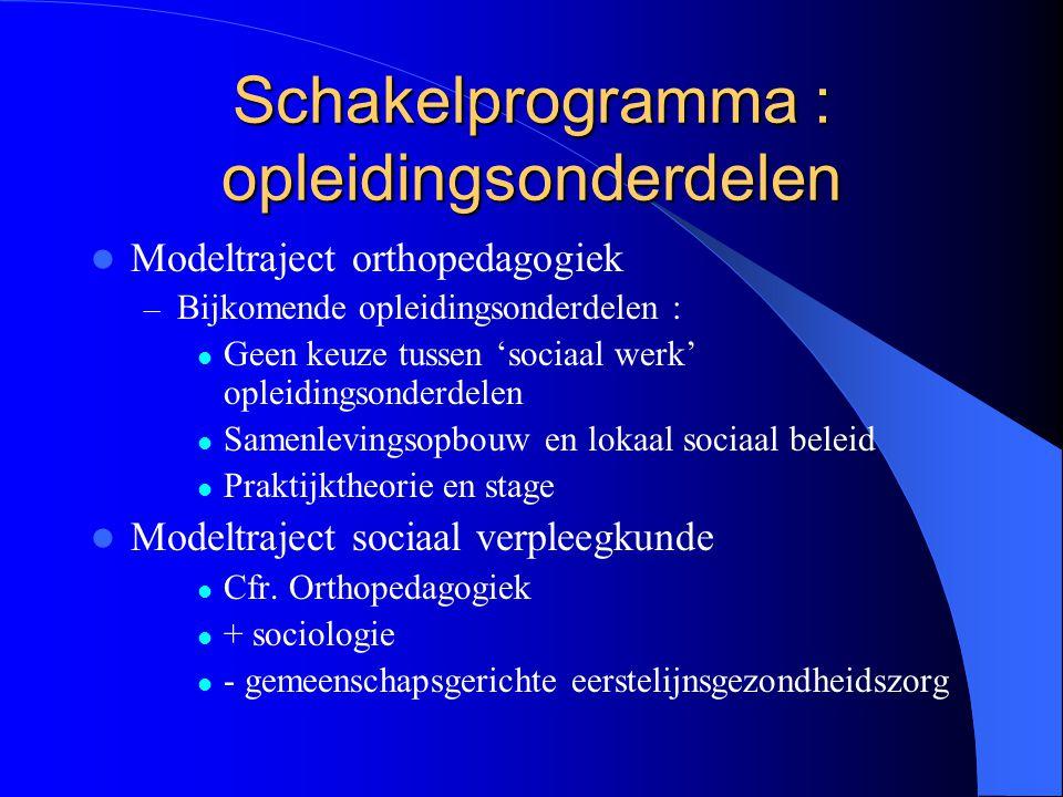 Schakelprogramma : opleidingsonderdelen Modeltraject orthopedagogiek – Bijkomende opleidingsonderdelen : Geen keuze tussen 'sociaal werk' opleidingson