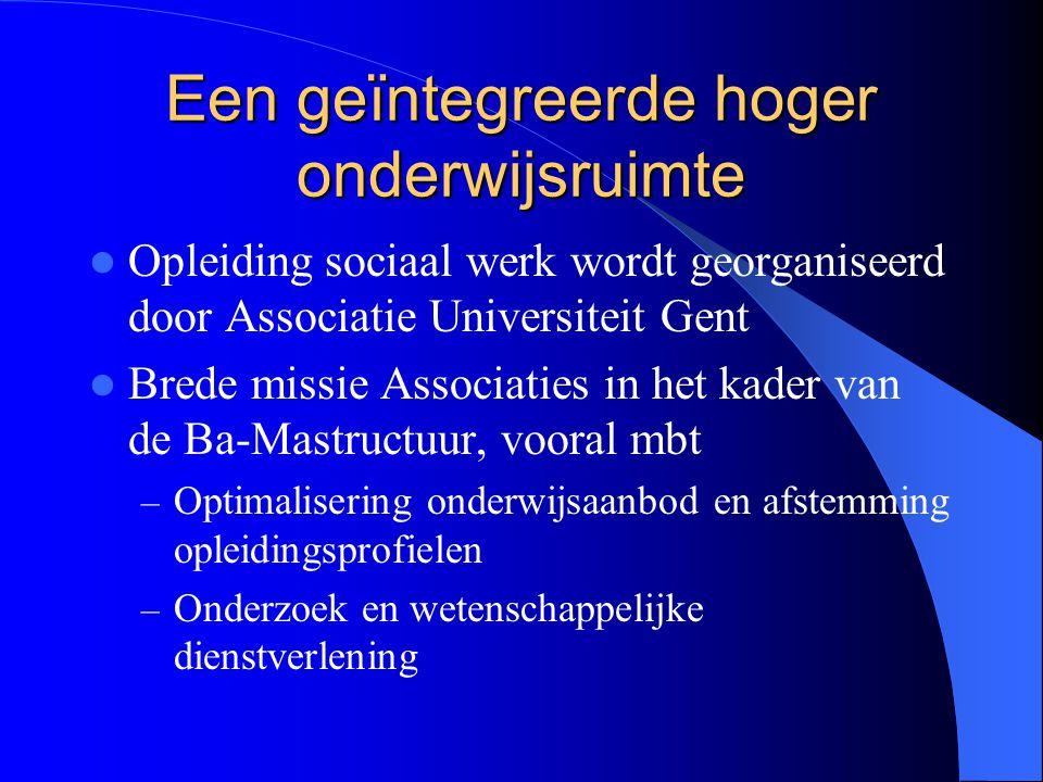 Een geïntegreerde hoger onderwijsruimte Opleiding sociaal werk wordt georganiseerd door Associatie Universiteit Gent Brede missie Associaties in het k