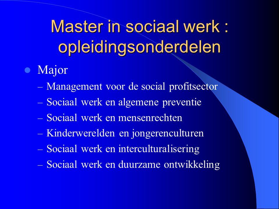 Master in sociaal werk : opleidingsonderdelen Major – Management voor de social profitsector – Sociaal werk en algemene preventie – Sociaal werk en me