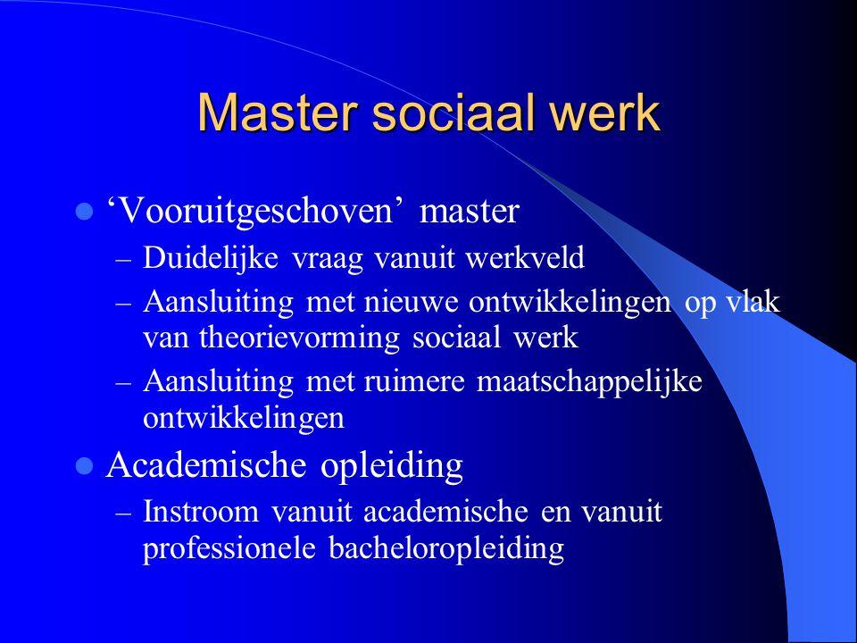 Master sociaal werk 'Vooruitgeschoven' master – Duidelijke vraag vanuit werkveld – Aansluiting met nieuwe ontwikkelingen op vlak van theorievorming so