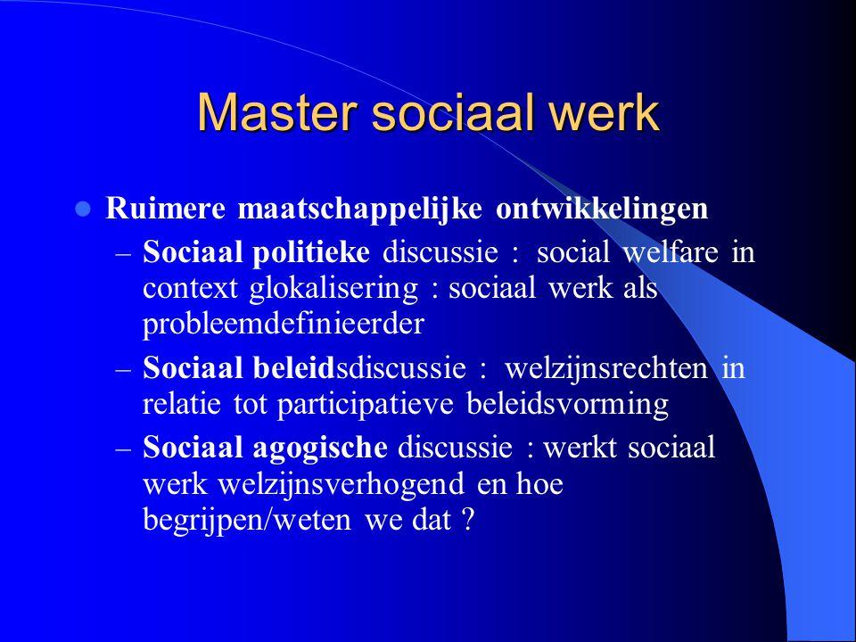 Master sociaal werk Ruimere maatschappelijke ontwikkelingen – Sociaal politieke discussie : social welfare in context glokalisering : sociaal werk als