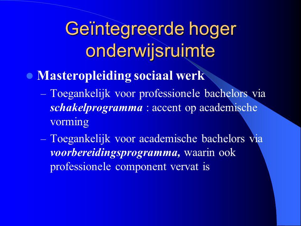 Geïntegreerde hoger onderwijsruimte Masteropleiding sociaal werk – Toegankelijk voor professionele bachelors via schakelprogramma : accent op academis