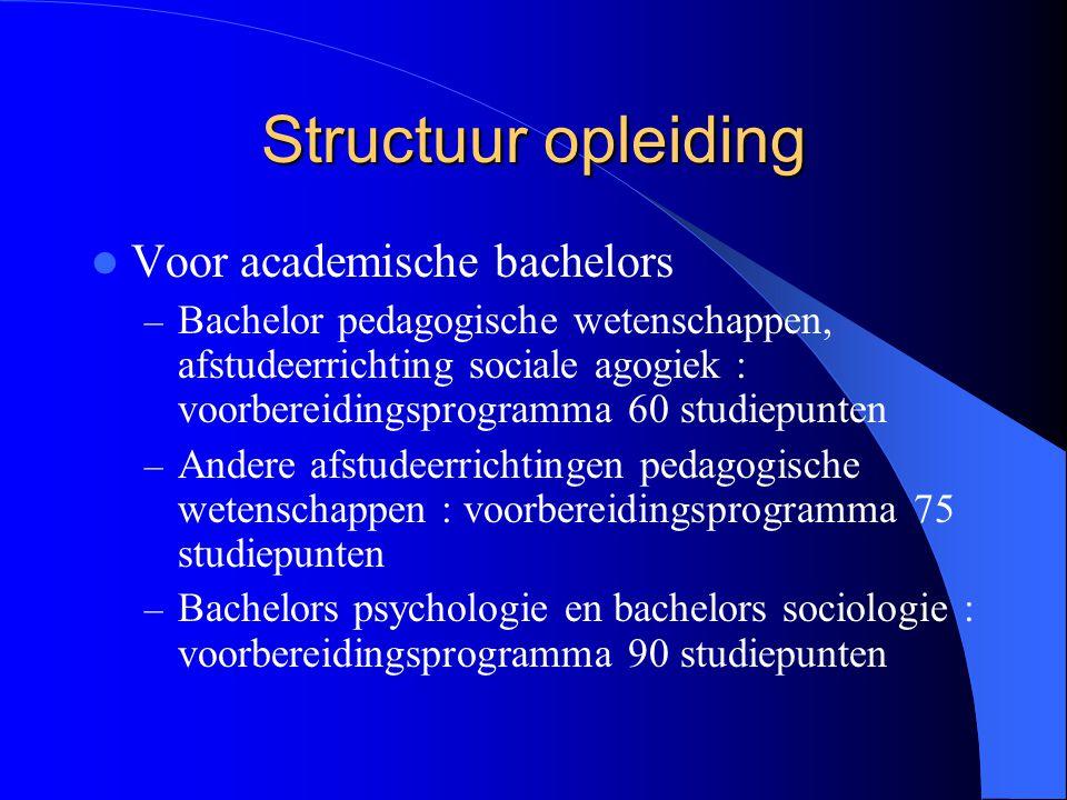 Structuur opleiding Voor academische bachelors – Bachelor pedagogische wetenschappen, afstudeerrichting sociale agogiek : voorbereidingsprogramma 60 s