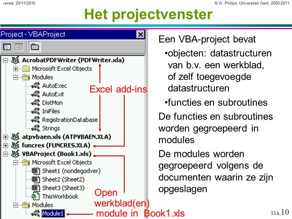 © W. Philips, Universiteit Gent, 2000-2011versie: 29/11/2010 11a. 10 Het projectvenster Een VBA-project bevat objecten: datastructuren van b.v. een we
