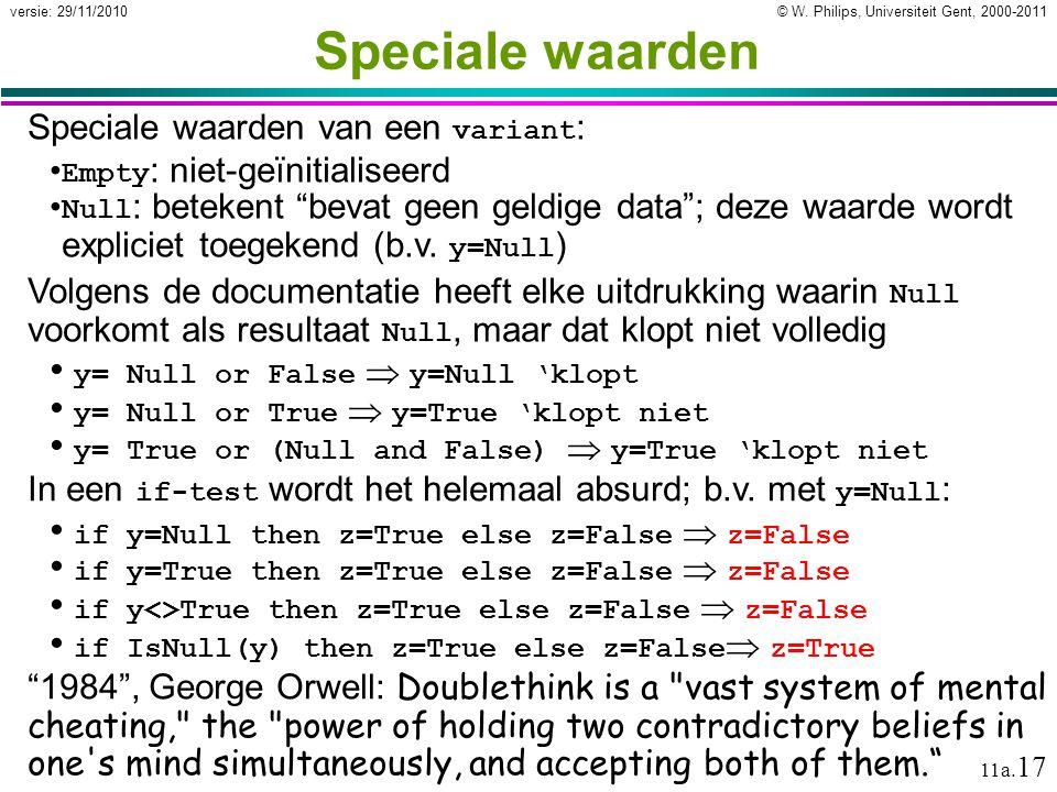 © W. Philips, Universiteit Gent, 2000-2011versie: 29/11/2010 11a. 17 Speciale waarden Speciale waarden van een variant : Empty : niet-geïnitialiseerd