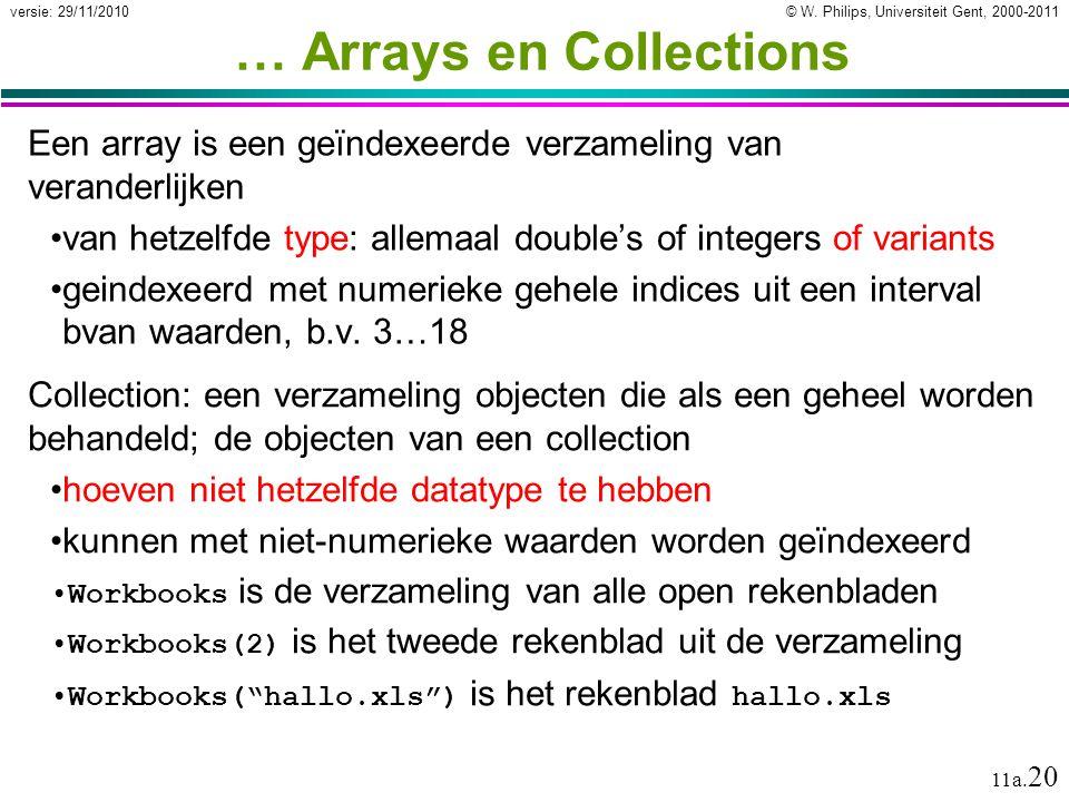 © W. Philips, Universiteit Gent, 2000-2011versie: 29/11/2010 11a. 20 … Arrays en Collections Een array is een geïndexeerde verzameling van veranderlij