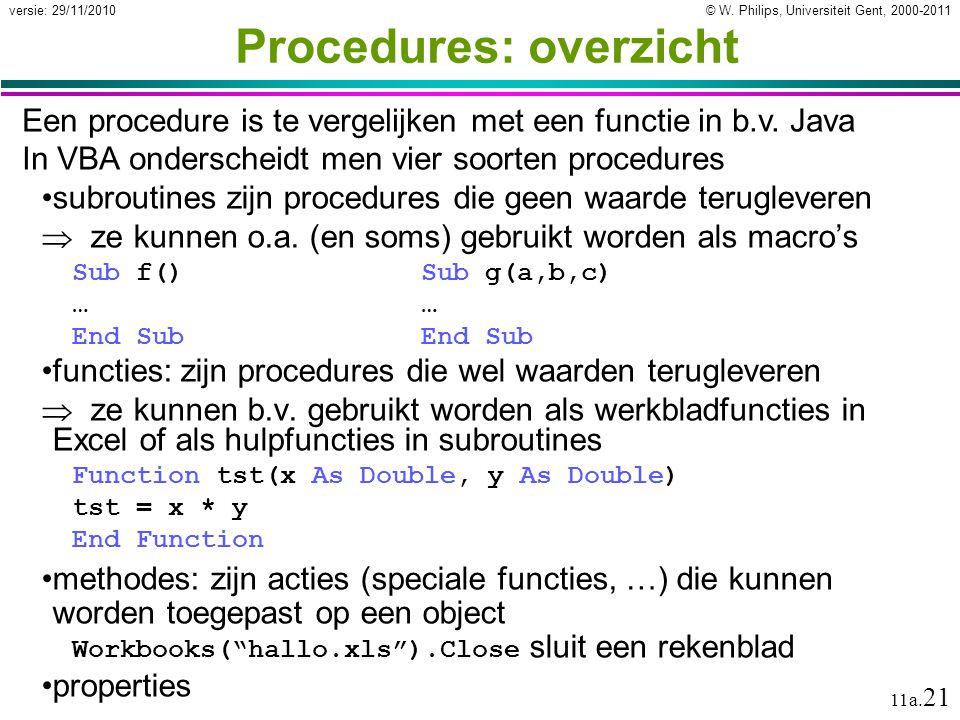© W. Philips, Universiteit Gent, 2000-2011versie: 29/11/2010 11a. 21 Procedures: overzicht subroutines zijn procedures die geen waarde terugleveren 