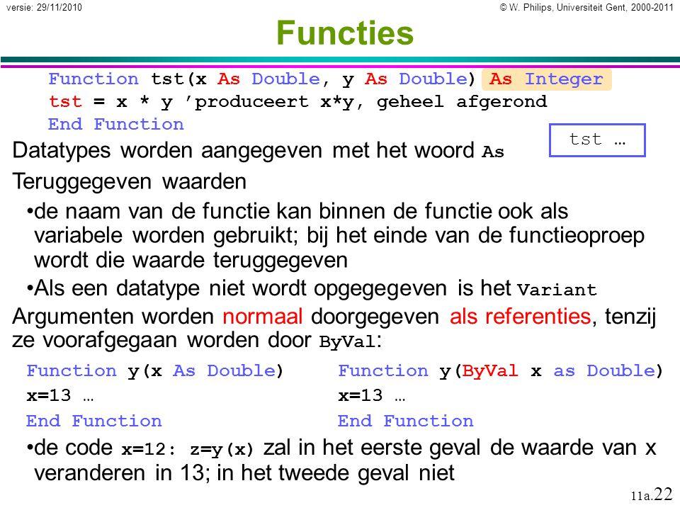 © W. Philips, Universiteit Gent, 2000-2011versie: 29/11/2010 11a. 22 Datatypes worden aangegeven met het woord As Teruggegeven waarden de naam van de