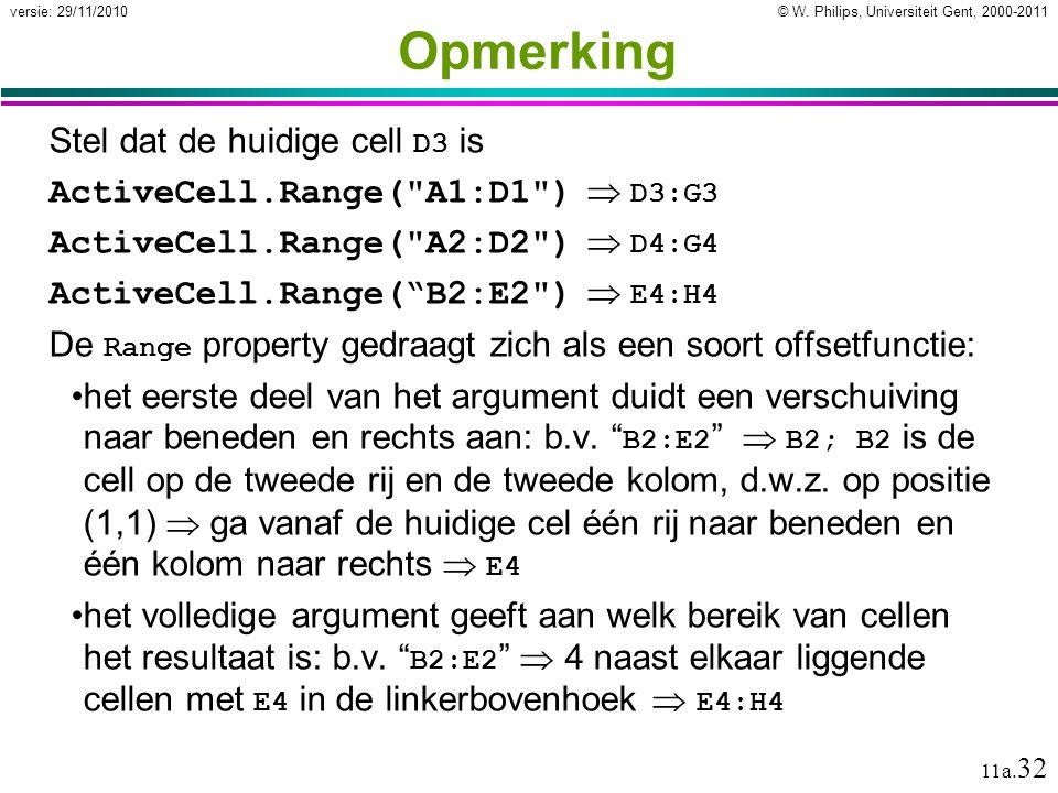 © W. Philips, Universiteit Gent, 2000-2011versie: 29/11/2010 11a. 32 Opmerking Stel dat de huidige cell D3 is ActiveCell.Range(