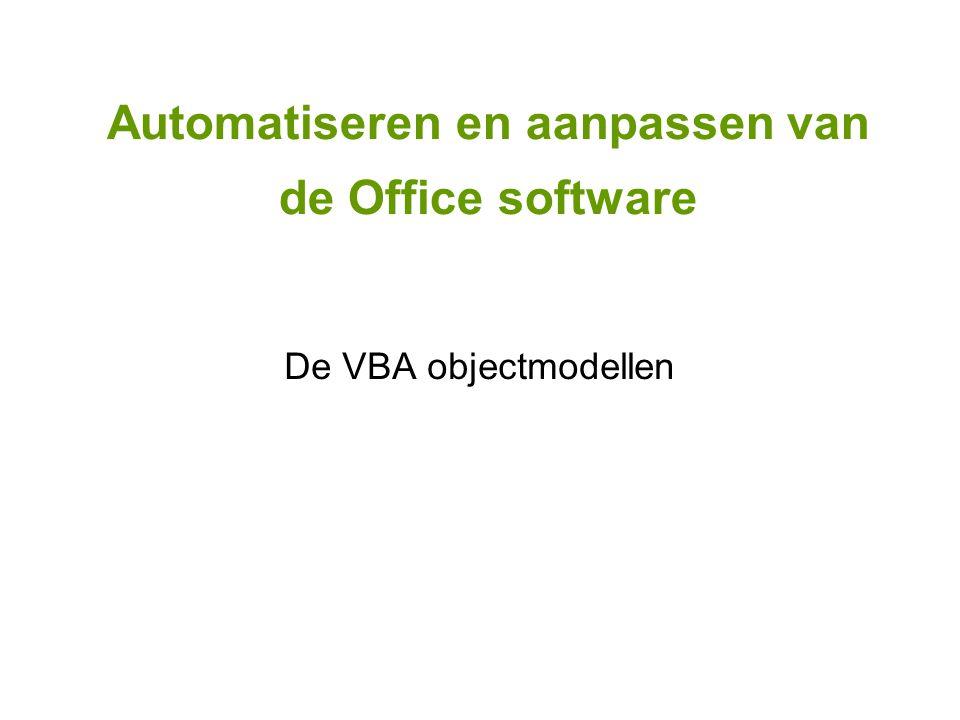 Automatiseren en aanpassen van de Office software De VBA objectmodellen