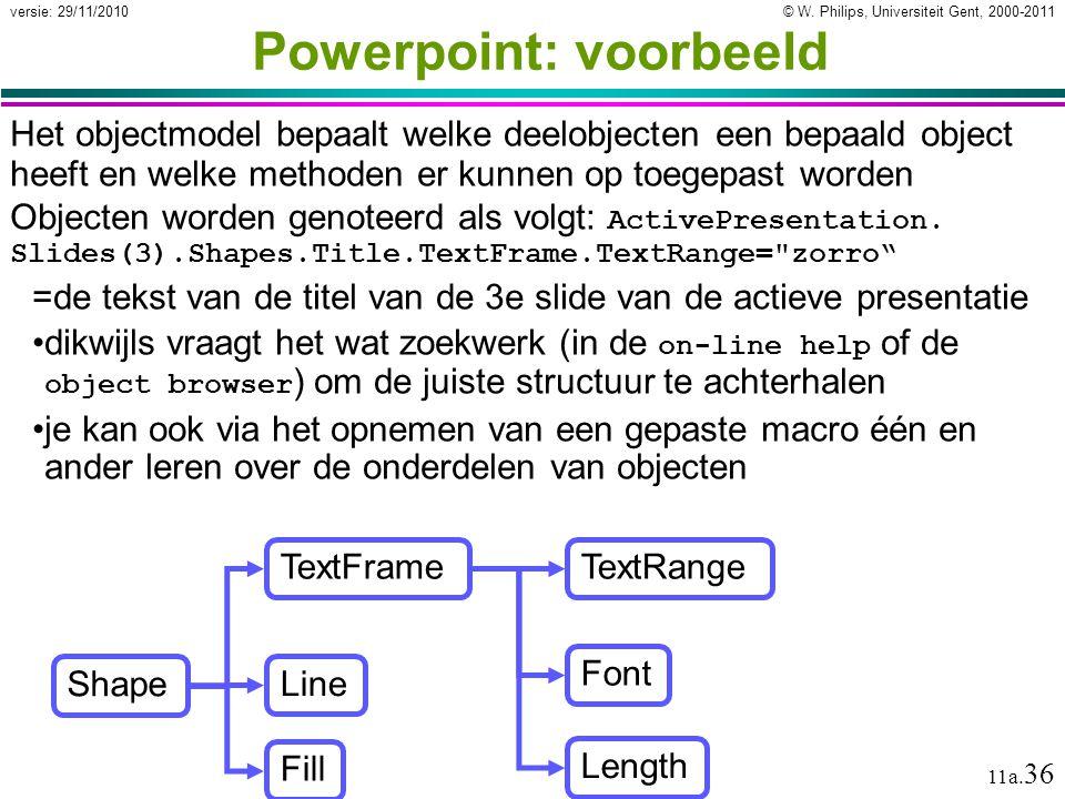 © W. Philips, Universiteit Gent, 2000-2011versie: 29/11/2010 11a. 36 Powerpoint: voorbeeld Het objectmodel bepaalt welke deelobjecten een bepaald obje