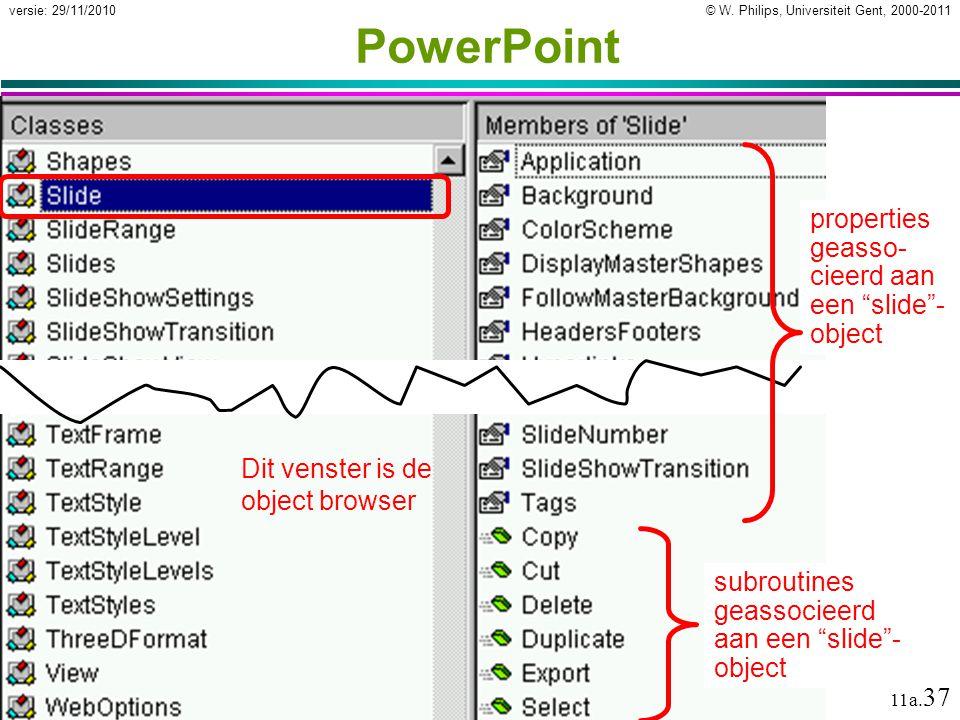 """© W. Philips, Universiteit Gent, 2000-2011versie: 29/11/2010 11a. 37 PowerPoint properties geasso- cieerd aan een """"slide""""- object subroutines geassoci"""