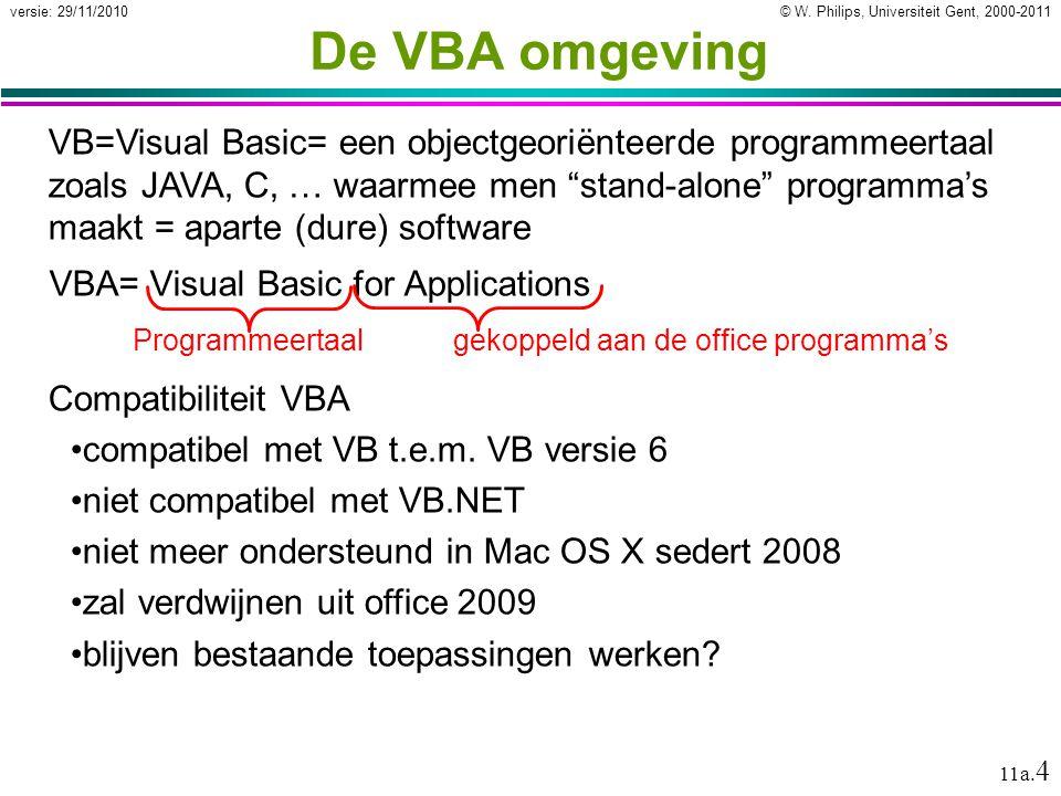 © W. Philips, Universiteit Gent, 2000-2011versie: 29/11/2010 11a. 4 VB=Visual Basic= een objectgeoriënteerde programmeertaal zoals JAVA, C, … waarmee