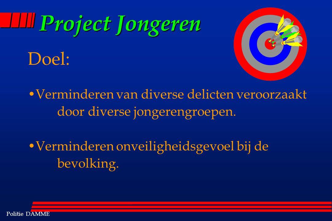 Politie DAMME Project Jongeren Doel: Verminderen van diverse delicten veroorzaakt door diverse jongerengroepen.