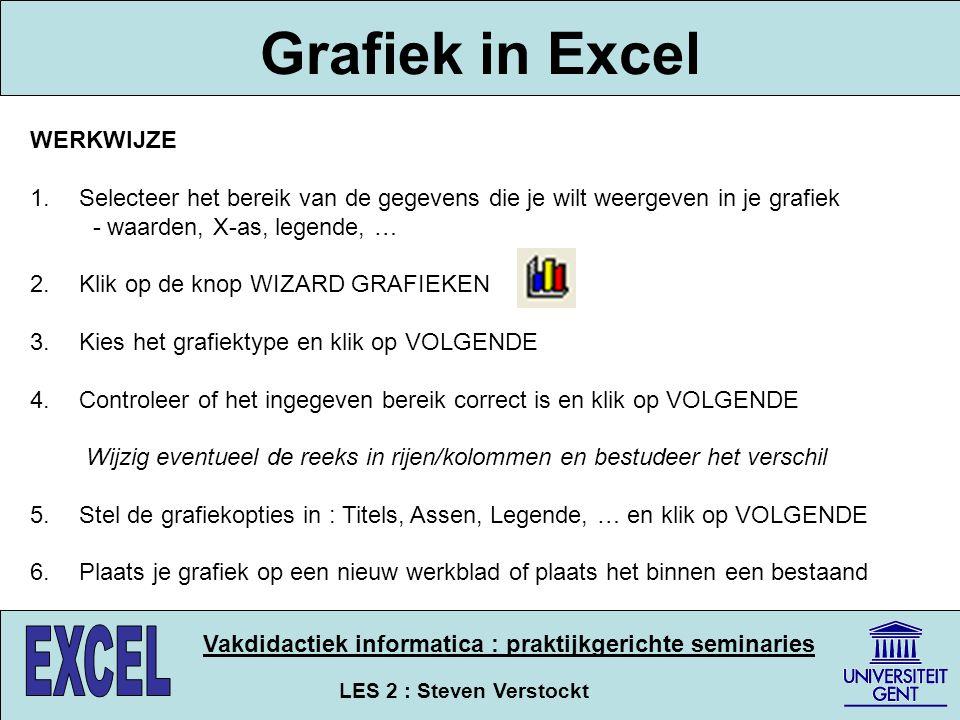 LES 2 : Steven Verstockt Vakdidactiek informatica : praktijkgerichte seminaries Grafiek in Excel WERKWIJZE 1. Selecteer het bereik van de gegevens die