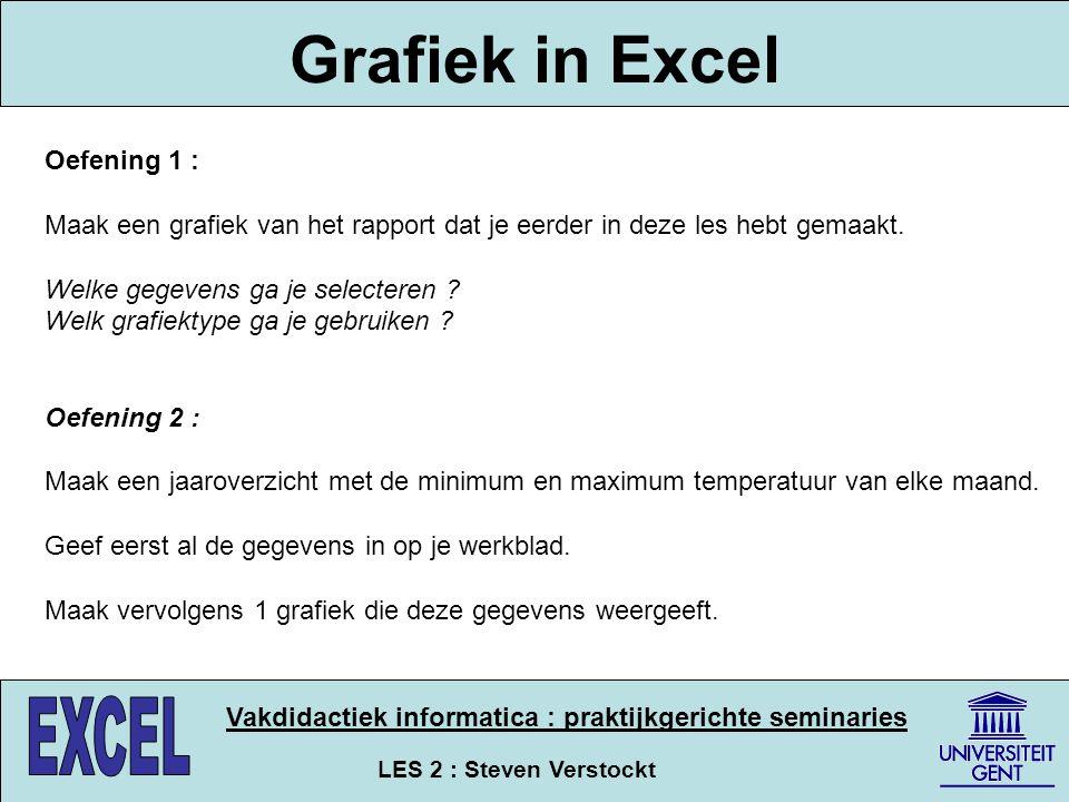 LES 2 : Steven Verstockt Vakdidactiek informatica : praktijkgerichte seminaries Grafiek in Excel Oefening 1 : Maak een grafiek van het rapport dat je