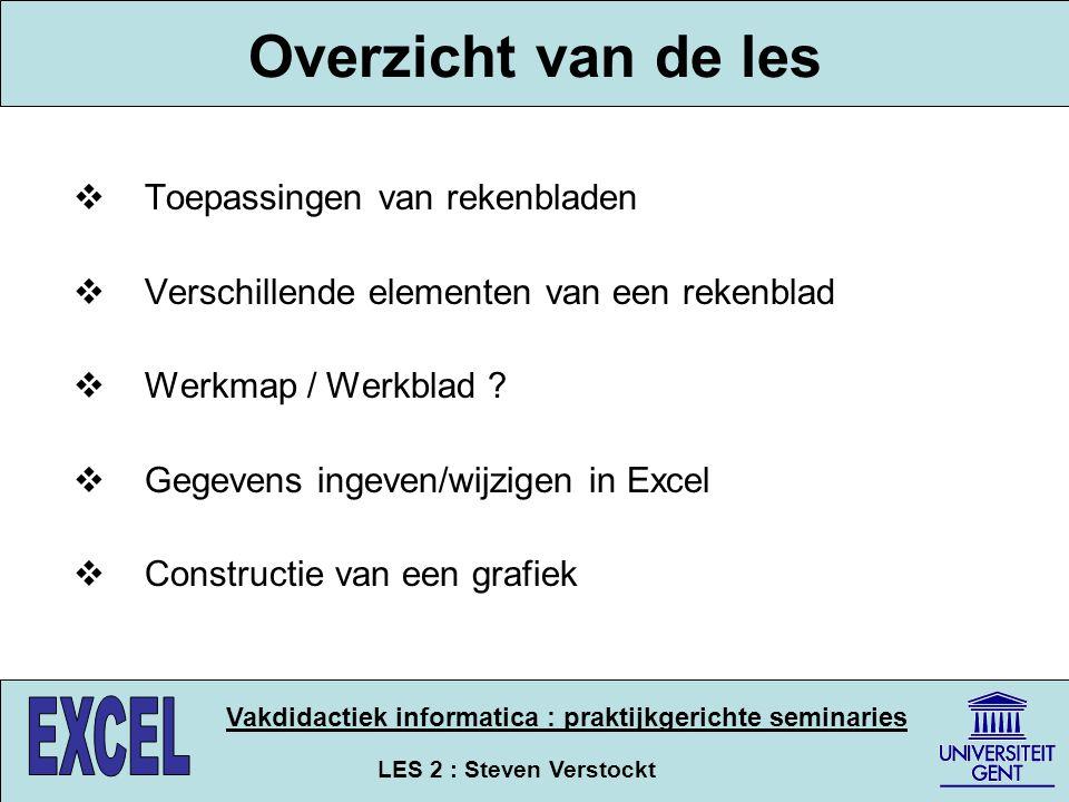 LES 2 : Steven Verstockt Vakdidactiek informatica : praktijkgerichte seminaries Toepassingen van rekenbladen  Ruitjespapier (voorloper van excel) : rekenen, verbruik huishoudboekjes, tabellen...