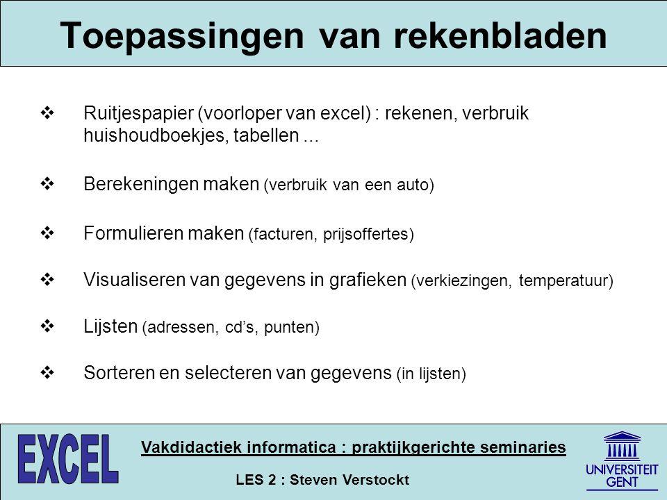 LES 2 : Steven Verstockt Vakdidactiek informatica : praktijkgerichte seminaries Toepassingen van rekenbladen  Ruitjespapier (voorloper van excel) : r