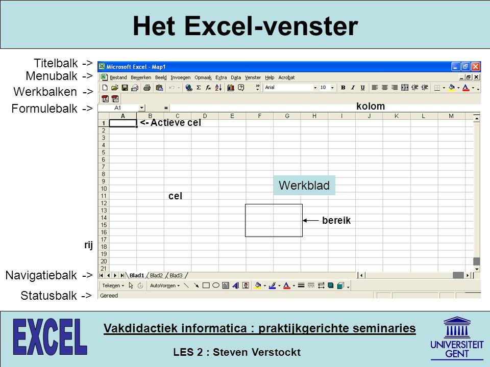 LES 2 : Steven Verstockt Vakdidactiek informatica : praktijkgerichte seminaries Het Excel-venster Titelbalk -> Menubalk -> Werkbalken -> Formulebalk -