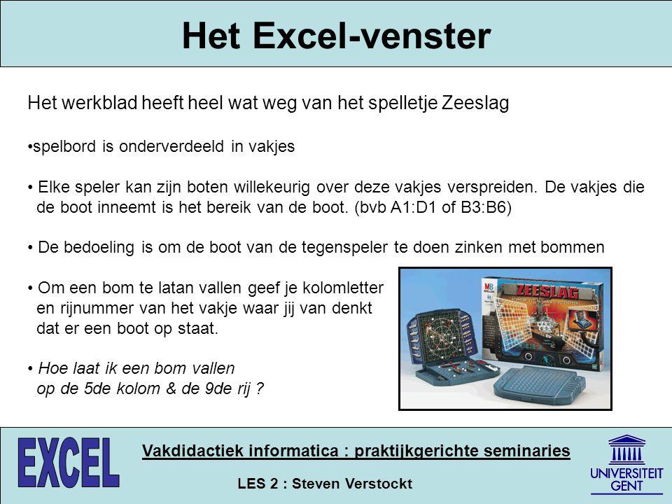 LES 2 : Steven Verstockt Vakdidactiek informatica : praktijkgerichte seminaries Los het kruiswoordraadsel op Maak gebruik van de informatie op het bord !